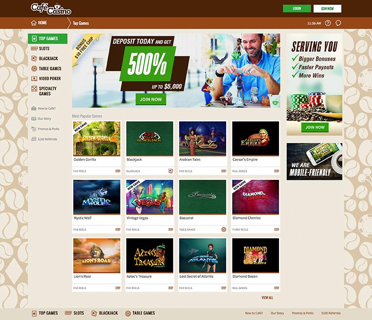 Café Casino Homepage